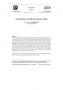 Second Language Acquisition and Language Teaching