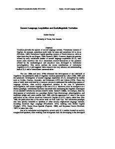Second Language Acquisition and Sociolinguistic Variation
