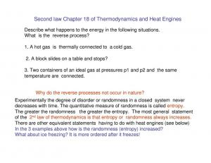 Second law Chapter 18 of Thermodynamics and Heat Engines