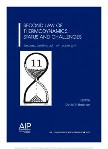 SECOND LAW OF THERMODYNAMICS: STATUS AND CHALLENGES