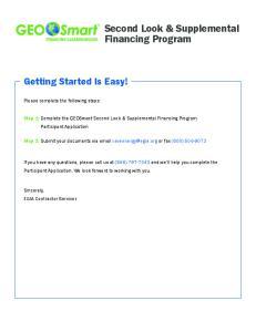 Second Look & Supplemental Financing Program