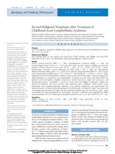 Second Malignant Neoplasms After Treatment of Childhood Acute Lymphoblastic Leukemia