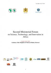 Second Ministerial Forum on Science, Technology, and Innovation in Africa
