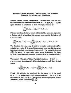 Second Order Partial Derivatives; the Hessian Matrix; Minima and Maxima
