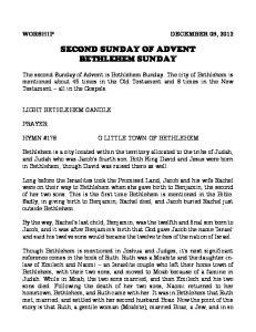 SECOND SUNDAY OF ADVENT BETHLEHEM SUNDAY