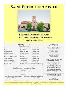 SECOND SUNDAY OF EASTER SEGUNDO DOMINGO DE PASCUA 7 8 APRIL 2018