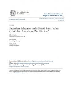 Secondary Education in the United States: What Can Others Learn from Our Mistakes?