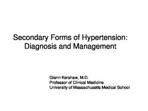 Secondary Forms of Hypertension: Diagnosis and Management