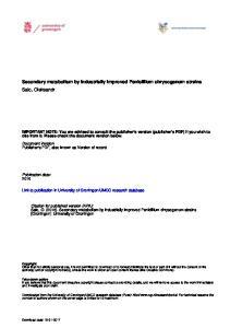 Secondary metabolism by industrially improved Penicillium chrysogenum strains Salo, Oleksandr