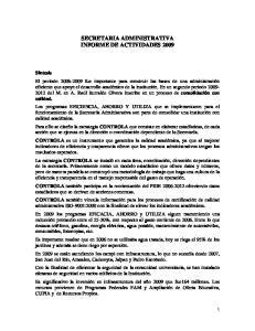SECRETARIA ADMINISTRATIVA INFORME DE ACTIVIDADES 2009