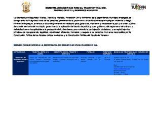 SECRETARIA DE SEGURIDAD PUBLICA, TRANSITO Y VIALIDAD, PROTECCION CIVIL y BOMBEROS MUNICIPAL