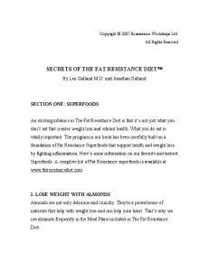 SECRETS OF THE FAT RESISTANCE DIET