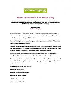 Secrets to Successful New Market Entry