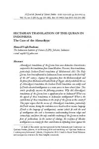 SECTARIAN TRANSLATION OF THE QURAN IN INDONESIA The Case of the Ahmadiyya 1