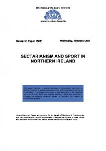 SECTARIANISM AND SPORT IN NORTHERN IRELAND