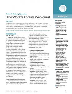 Section 1: Gathering Information The World s Forests Web-quest