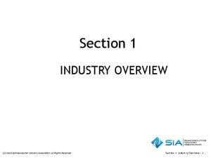 Section 1 INDUSTRY OVERVIEW. Section 1: Industry Overview (C) 2015 Semiconductor Industry Association All Rights Reserved