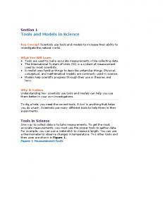 Section 1 Tools and Models in Science