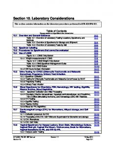 Section 10. Laboratory Considerations