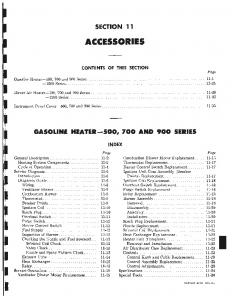 SECTION 11 ACCESSORIES CONTENTS OF THIS SECTION. Gasoline Heater-500, 700 and 900 Series Series
