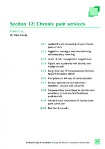 Section 12: Chronic pain services