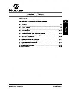 Section 12. Timers. Timers HIGHLIGHTS. This section of the manual contains the following major topics:
