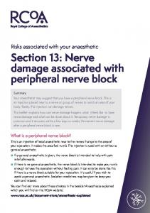 Section 13: Nerve damage associated with peripheral nerve block