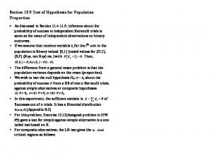 Section 13.5 Test of Hypothesis for Population Proportion