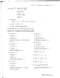Section 1.4 Continuity and One-Sided Limits