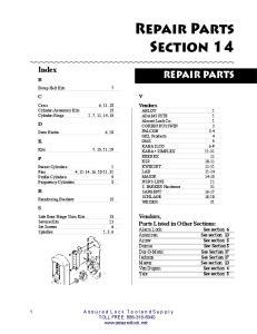 Section 14. PARTS & CYLINDERS Repair Parts REPAIR PARTS. Index