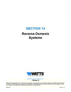 SECTION 14 Reverse Osmosis Systems WaTER QualITy PROduCTS Catalog 10