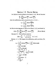 Section 1.6. Fourier Series