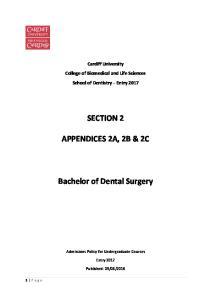SECTION 2 APPENDICES 2A, 2B & 2C. Bachelor of Dental Surgery