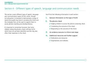 Section 4 - Different types of speech, language and communication needs