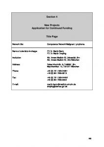 Section 4. New Projects Application for Continued Funding. Title Page