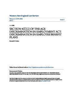 SECTION 4(f )(2) OF THE AGE DISCRIMINATION IN EMPLOYMENT ACT: DISCRIMINATION IN EMPLOYEE BENEFIT PLANS