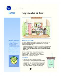Section 8. Energy Consumption: Cold Shower. What Do You See? What Do You Think? Investigate. Learning Outcomes