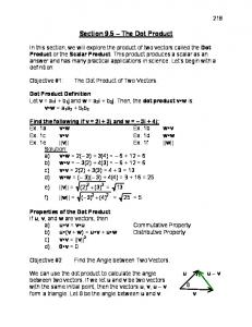 Section 9.5 The Dot Product