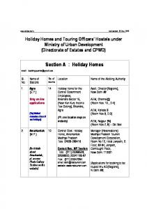 Section A : Holiday Homes