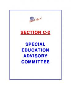 SECTION C-2 SPECIAL EDUCATION ADVISORY COMMITTEE