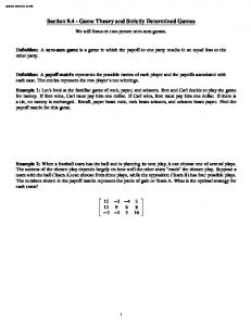 Section Game Theory and Strictly Determined Games