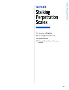 Section H Stalking Perpetration Scales