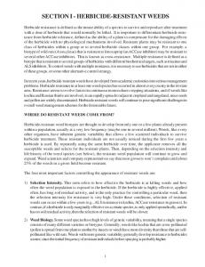 SECTION I - HERBICIDE-RESISTANT WEEDS