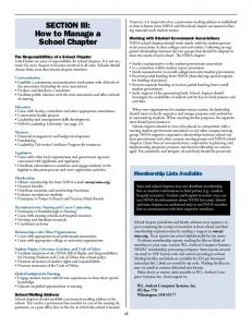 SECTION III: How to Manage a School Chapter