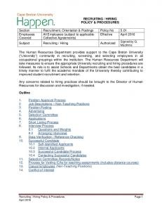Section Recruitment, Orientation & Postings Policy No 5.01 Employees All Employees (subject to applicable Effective April 2016