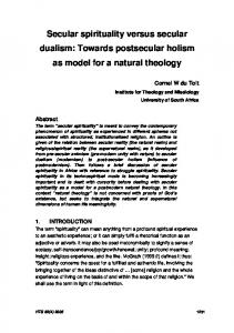 Secular spirituality versus secular dualism: Towards postsecular holism as model for a natural theology