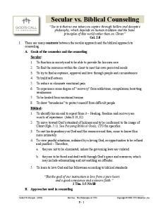 Secular vs. Biblical Counseling
