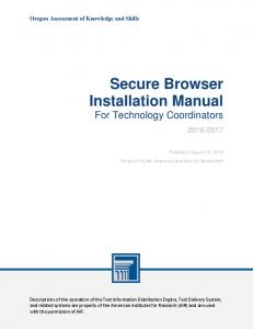 Secure Browser Installation Manual For Technology Coordinators