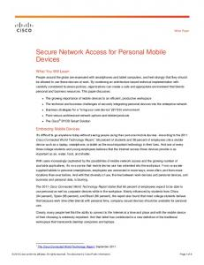 Secure Network Access for Personal Mobile Devices