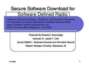 Secure Software Download for Software Defined Radio